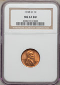 Lincoln Cents: , 1938-D 1C MS67 Red NGC. NGC Census: (1494/2). PCGS Population(363/1). Mintage: 20,010,000. Numismedia Wsl. Price for probl...