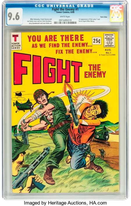 Fight The Enemy #1 Twin Cities pedigree (Tower, 1966) CGC NM+ 9.6 White pages....