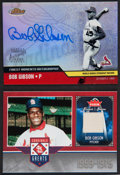 Baseball Cards:Singles (1970-Now), Bob Gibson Autograph and Jersey Swatch Insert Card Pair (2). ...