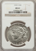 Peace Dollars: , 1925-S $1 MS61 NGC. NGC Census: (227/3767). PCGS Population(197/5257). Mintage: 1,610,000. Numismedia Wsl. Price for probl...