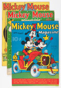 Platinum Age (1897-1937):Miscellaneous, Mickey Mouse Magazine V2#11, V3#3, and V3#6 Apparent Group (K. K.Publications/ Western Publishing Co., 1937-38).... (Total: 3 ComicBooks)