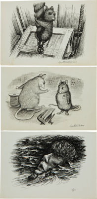 Garth Williams. Three Original Preliminary Ink Drawings for Illustrations in The Rescuers