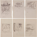 Art:Illustration Art - Mainstream, Garth Williams. Twenty-One Rough Sketches for Illustrations inLaura Ingalls Wilder's On the Banks of Plum Creek, ...(Total: 17 Items)