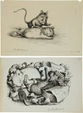 Books:Original Art, Garth Williams (American 1912-1996). Two Original Preliminary InkDrawings for Illustrations in The Rescuers...