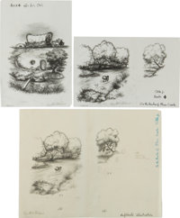 Garth Williams. Three Preliminary Drawings for Illustrations in Laura Ingalls Wilder's On the Banks of Plum Cre