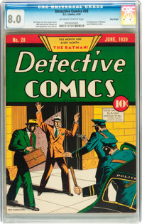 Detective Comics #28 Billy Wright pedigree (DC, 1939) CGC VF 8.0 Off-white to white pages