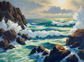 Mainstream Illustration, ARTHUR SARON SARNOFF (American, 1912-2000). Resounding Sea.Oil on board. 36 x 48 in.. Signed lower left. From the E...