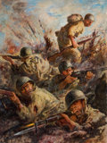 Pulp, Pulp-like, Digests, and Paperback Art, ROBERT BENNEY (American, 1904-2001). Fire Fight, storyillustration. Oil on board. 24 x 18.5 in.. Signed lower right....
