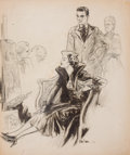 Mainstream Illustration, RAEBURN VAN BUREN (American, 1891-1987). The Art Critics.Charcoal on board. 24 x 20 in.. Signed lower right. Fromt...