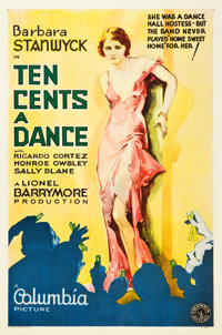 "Ten Cents a Dance (Columbia, 1931). One Sheet (27"" X 41"") Style A"