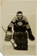 Hockey Collectibles:Photos, Mid-1950's Terry Sawchuk Signed Photograph - Rare Boston BruinsPose!...