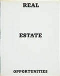 Books:Photography, Edward Ruscha. Real Estate Opportunities. [California]:Edward Ruscha, 1970. First edition. Small octavo. [24] leave...