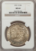 Morgan Dollars: , 1921-S $1 MS64 NGC. NGC Census: (4797/786). PCGS Population(3276/764). Mintage: 21,695,000. Numismedia Wsl. Price for prob...