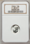 Roosevelt Dimes: , 1959 10C MS67 NGC. NGC Census: (242/2). PCGS Population (25/1).Mintage: 85,700,000. Numismedia Wsl. Price for problem free...
