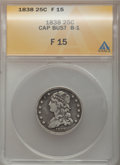 Bust Quarters: , 1838 25C Fine 15 ANACS. B-1. NGC Census: (3/182). PCGS Population (6/229). Mintage: 366,000. Numismedia Wsl. Price for pro...