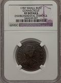 Colonials, 1787 COPPER ETLIB INDE Small Head Right Connecticut Copper -- Environmental Damage -- NGC Details. XF. M. 1.1-A, W-2700, R.3....