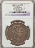 Coins of Hawaii: , 1883 $1 Hawaii Dollar -- Obverse Damaged -- NGC Details. VF. NGCCensus: (2/304). PCGS Population (1/592). Mintage: 500,000...