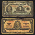 Canadian Currency: , 1935 and 1937 Notes.. ... (Total: 2 notes)
