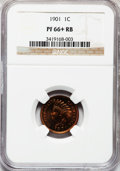 Proof Indian Cents, 1901 1C PR66+ Red and Brown NGC....
