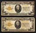 Small Size:Gold Certificates, Fr. 2402 $20 1928 Gold Certificates. Two Examples. Very Good-Fine.. ... (Total: 2 notes)