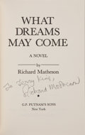 Books:Science Fiction & Fantasy, Richard Matheson. What Dreams May Come. New York: Putnam, [1978]. First edition, first printing. Signed and inscri...