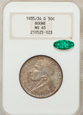 Commemorative Silver: , 1935/34-D 50C Boone MS65 NGC. CAC. NGC Census: (151/176). PCGSPopulation (238/223). Mintage: 2,003. Numismedia Wsl. Price ...