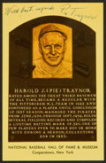 Baseball Collectibles:Others, Pie Traynor Signed Hall of Fame Plaque Postcard. ...