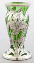 Art Glass:Other , AN AMERICAN GLASS VASE WITH ALVIN SILVER OVERLAY . Glass makerunknown, circa 1900. Silver by Alvin Corporation, Providence,...