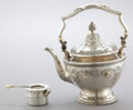 Silver Holloware, American:Tea Pots, A GORHAM SILVER HOT WATER KETTLE AND BURNER . Gorham ManufacturingCo., Providence, Rhode Island, 1917. Marks: (lion-anchor-...(Total: 2 Items)
