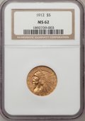 Indian Half Eagles: , 1912 $5 MS62 NGC. NGC Census: (3097/1249). PCGS Population(2327/1568). Mintage: 790,000. Numismedia Wsl. Price for problem...