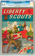 Golden Age (1938-1955):War, Liberty Scouts Comics #2 (#1) Billy Wright pedigree (Centaur, 1941) CGC VF 8.0 Off-white to white pages....