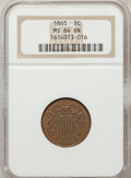 Two Cent Pieces: , 1865 2C MS64 Brown NGC. NGC Census: (597/395). PCGS Population(179/39). Mintage: 13,640,000. Numismedia Wsl. Price for pro...