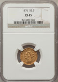 Liberty Quarter Eagles: , 1876 $2 1/2 XF45 NGC. NGC Census: (14/113). PCGS Population (6/49).Mintage: 4,100. Numismedia Wsl. Price for problem free ...