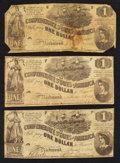 Confederate Notes:1862 Issues, T44 $1 1862 Three Examples.. ... (Total: 3 notes)