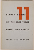 Books:Fiction, Robert Penn Warren. Eleven Poems on the Same Theme. Norfolk:New Directions, [1942]. First edition, first printing. ...