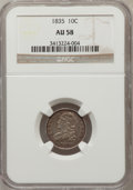 Bust Dimes: , 1835 10C AU58 NGC. NGC Census: (73/250). PCGS Population (44/166).Mintage: 1,410,000. Numismedia Wsl. Price for problem fr...