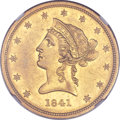 Liberty Eagles, 1841 $10 AU58 NGC....