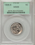 Buffalo Nickels: , 1935-S 5C MS66 PCGS. PCGS Population (387/28). NGC Census:(124/11). Mintage: 10,300,000. Numismedia Wsl. Price for problem...