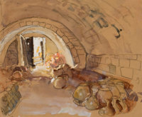 DEAN CORNWELL (American, 1892-1960) Nazareth, study for The City of the Great King, 1925 Watercolor