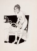 Pin-up and Glamour Art, GEORGE GUZZI (American, 20th Century). Pin-Up Getting Dressed,calendar illustration (pair), 1974. Pen and ink on paper;...