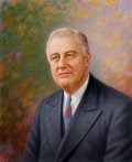 Mainstream Illustration, AMERICAN ARTIST (20th Century). Portrait of Franklin D.Roosevelt. Pastel on paper laid on board. 25 x 20 in.. Notsigne...