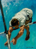 Mainstream Illustration, ARTHUR SARON SARNOFF (American, 1912-2000). Pole Vault. Oilon board. 24 x 18 in.. Signed lower right. From the Esta...