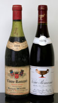 Red Burgundy, Vosne Romanee. 1966 A. Hegar 5cm, bsl, ssos Bottle (1). 1970 Gros Freres et Soeur Bottle (1). ... (Total: 2 Btls. )