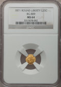 California Fractional Gold: , 1871 25C Liberty Round 25 Cents, BG-809, Low R.4, MS64 NGC. NGCCensus: (5/4). PCGS Population (28/25). (#10670)...