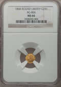 California Fractional Gold: , 1868 25C Liberty Round 25 Cents, BG-806, R.3, MS66 NGC. NGC Census:(19/2). PCGS Population (20/1). (#10667)...