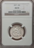 Seated Quarters: , 1877 25C AU55 NGC. NGC Census: (11/295). PCGS Population (4/322).Mintage: 10,911,710. Numismedia Wsl. Price for problem fr...
