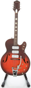 Musical Instruments:Electric Guitars, 1960's Silvertone H1454 Redburst Semi-Hollow Body ElectricGuitar....
