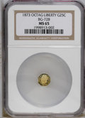 California Fractional Gold: , 1873 25C Liberty Octagonal 25 Cents, BG-728, R.3, MS65 NGC. PCGSPopulation (36/24). (#10555)...