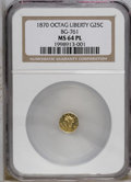 California Fractional Gold: , 1870 25C Liberty Octagonal 25 Cents, BG-761, R.4, MS64 ProoflikeNGC. PCGS Population (4/0). (#10588)...