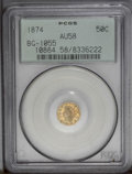 California Fractional Gold: , 1874 50C Indian Round 50 Cents, BG-1055, High R.4, AU58 PCGS. PCGSPopulation (5/41). (#10884)...